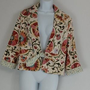 3 Sisters Cotton Weaved Floral Blazer XL